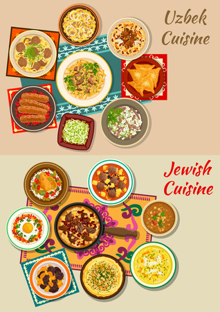 Jewish and uzbek cuisine dishes with kebab, beef and bean stew, meat pie, rice chicken with olives, meatball and fried egg, pilaf, meat and chickpea soups with noodles, radish salad, dry fruit dessert Illustration