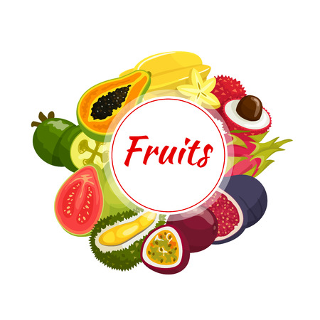 fruta tropical: Exotic fruit round badge, surrounded by fresh tropical papaya, feijoa, passionfruit, guava, starfruit, lychee, fig, dragon fruit and durian fruits
