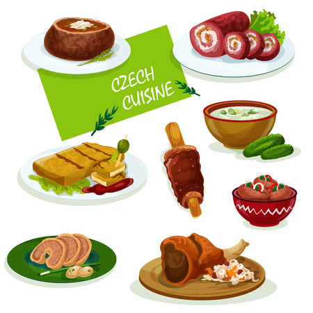 Czech cuisine traditional pork knee icon served with sauerkraut and pickled sausage, fried cheese, stuffed carp, cold cucumber soup, beef roll, tomato soup and spit cake Illustration