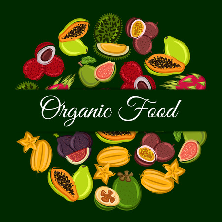 exotic fruit: Organic fruit round symbol with exotic tropical dragon fruit, papaya, carambola, passion fruit, feijoa, durian, lychee, guava and fig. Fruit dessert, food and drink packaging design