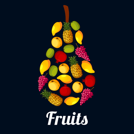 pear shaped: Pear symbol composed of fresh fruits. Sweet mango, pineapple, peach, grape, kiwi and pomegranate fruits arranged in a pear shaped silhouette for juice and food packaging design Illustration