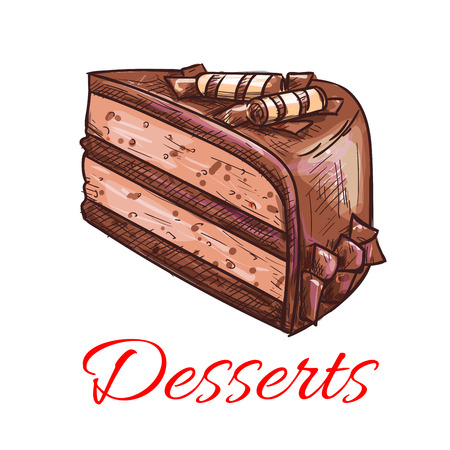 buttercream: Desserts. Chocolate cake icon. Patisserie shop emblem. Vector sweet cupcake with topping. Template for cafe menu card, cafeteria signboard, bakery label Illustration