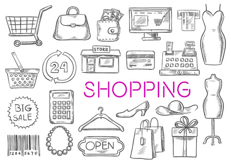 discount store: Shopping icons set. Vector isolated sketch line shopping items of shopping basket, money purse bag, shop counter, dress, atm bank, credit card, store, discount label, price tag, barcode, clothes hanger, shoes, shopping gift box. Fashion items