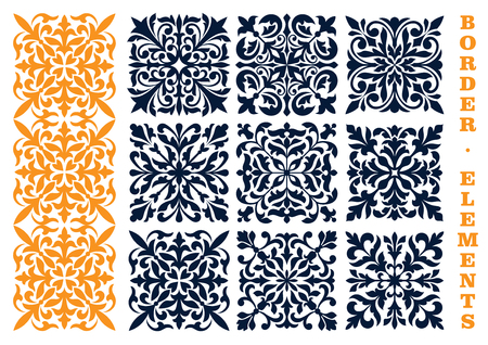 Ornamental Floral Pattern Border Elements Curled And Curved - Curved tile border