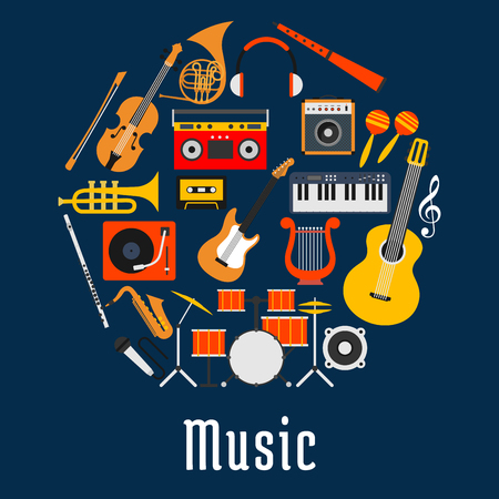 Music round symbol with guitar, drum set, saxophone, microphone and trumpet, violin and horn, synthesizer and record player, lyre, loudspeaker and headphones, flute and maracas, compact cassette and boombox