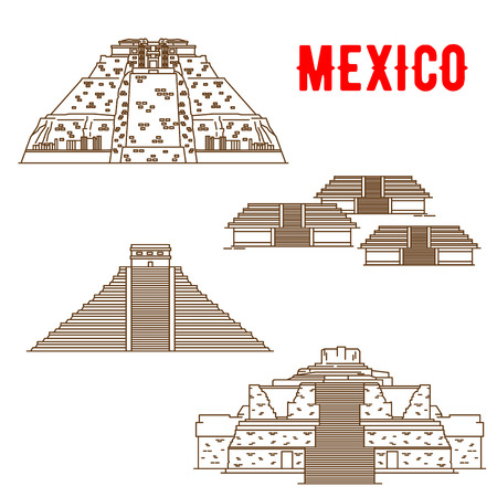 yucatan: Uxmal, Teotihuacan, Chichen Itza, Ek Balam. Ancient and historic culture landmarks of Mexico. Vector thin line symbols of famous archeological Maya and Incas sightseeings for souvenirs, travel map guide