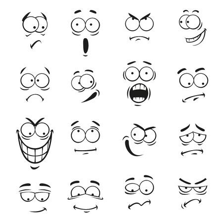 인간 만화 이모티콘 표정에 직면 해있다. 이모티콘 요소 미소 벡터 귀여운 눈, 행복, 화가, 놀란, 슬프고 화가, 미친 바보, 울고 충격, 만화 바보, 무서워