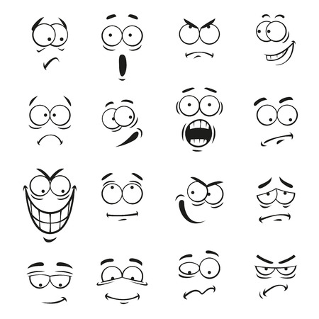 Human cartoon emoticon gezichten met uitdrukkingen. Vector leuk ogen emoji elementen lachend, blij, boos, verbaasd, sceptisch, verdrietig en boos, gek en dom, huilen en geschokt, grappige en gekke, bang en stijlvol, optimistisch Stock Illustratie
