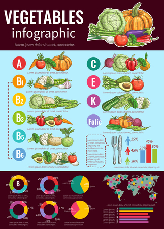 vegetarians: Healthy vegetables infographic design template with sketches of fresh vegetables, vitamin content and health benefits diagram, pie chart, bar graph and world map Illustration
