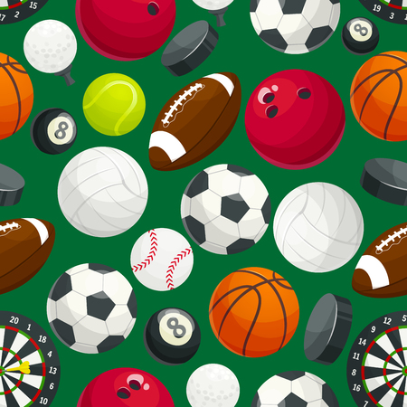 billiard ball: Sport balls and gaming equipment pattern. Vector pattern of color cartoon balls for rugby and soccer, baseball and basketball, tennis, hockey puck, bowling, volleyball, darts, billiards
