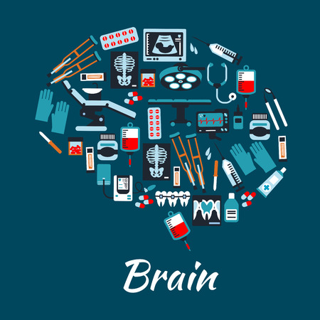 Medical placard background in brain shape. Vector symbols and icons of health care equipment and therapy dentist chair, tonometer, surgery operation table, pills, sonography, stethoscope