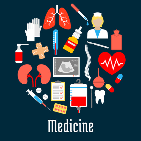 Medical flat icons placed as a circle with thermometer, heart, pill, syringe, doctor or nurse and tooth, blood and dentist tool, lung, kidney, spine, glove, baby ultrasound, enema and plaster