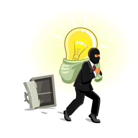 Idea theft. Man stealing lamp bulb from safe box. Business metaphor of human thief in black mask stealing idea, intellectual property, copyright in form electric lamp