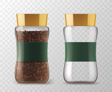 커피 유리 항아리 인스턴트 커피 알갱이와 빈 수 있습니다. 벡터 격리 된 유리 커피 항아리 갈색 뚜껑 및 스티커 태그 제품 포장에 대 한 투명한 배경  일러스트