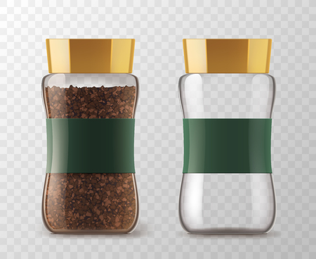 Frasco de café con granos de café instantáneo y lata vacía. Vector aislado vasos de café de vidrio con tapa marrón y pegatina etiqueta sobre fondo transparente para la plantilla de embalaje del producto