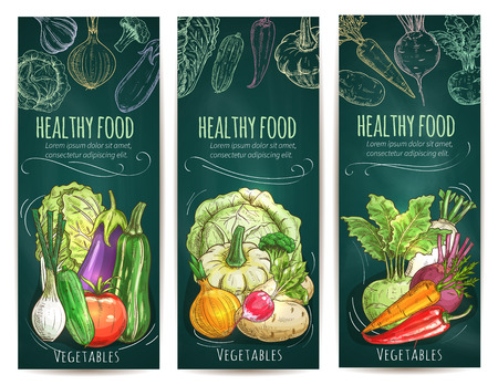 Healthy vegetables and vegetarian food banners on green blackboard. Vegetable tomato and carrot, onion and pepper, beet and radish, eggplant, cabbage, cucumber, zucchini, kohlrabi sketches