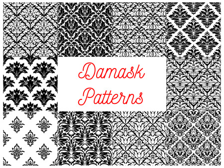 Damask seamless floral pattern background set with black and white victorian flourish ornaments of flowers and leaves. Wallpaper, interior accessory, textile design Ilustrace