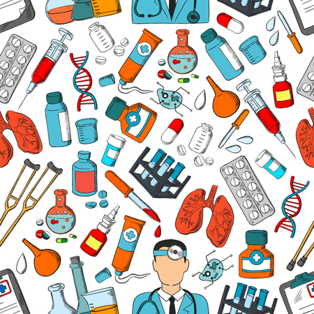 Medicine seamless pattern. Vector pattern of medical tools and treatment doctor, lungs and syringe, pills and dropper, ointment, dna and medications, equipment, bacteria, stethoscope, crutch, vial Illusztráció