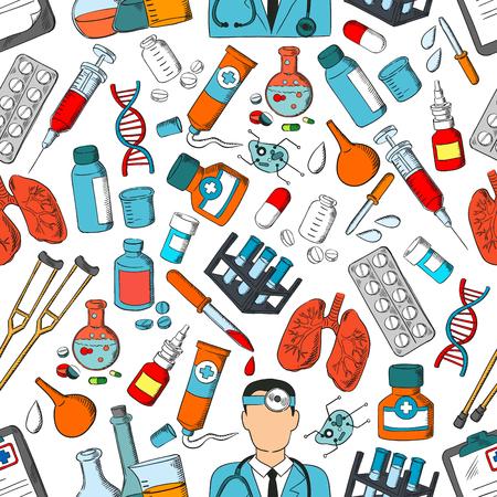 Modello senza cuciture di medicina. Modello di vettore di strumenti medici e trattamento medico, polmoni e siringa, pillole e contagocce, unguento, dna e farmaci, attrezzature, batteri, stetoscopio, stampella, fiala