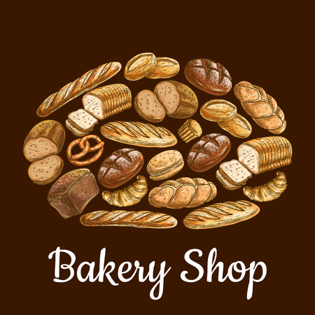 wheat bread: Bakery shop emblem in shape of bread loaf with vector sketch elements of bread and bakery products wheat and rye bread bricks and bagels, pretzel, fresh baked bun on brown background
