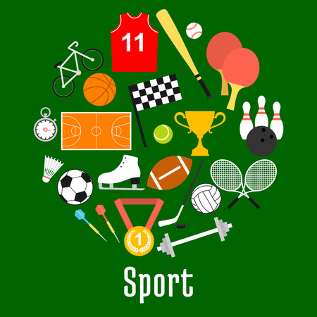 Sport symbols and sporting items in a shape of circle with balls for soccer and volleyball, basketball and tennis, baseball and bowling, hockey puck and bicycle, trophy, darts, rackets, racing flag Illustration