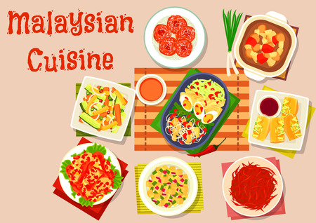 Malaysian cuisine salad and soup dishes icon of vegetable salad with peanut sauce, crispy beef, stuffed tofu, chilli egg, chicken potato soup, pineapple cucumber salad, marinated veggies, potato donut