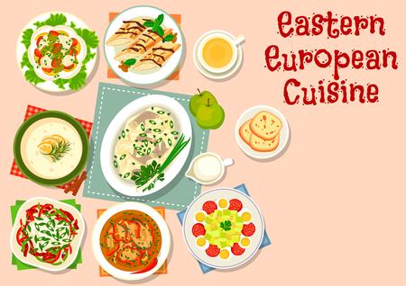 ensalada de frutas: De Europa del Este icono de la cocina la cena con ensalada de pescado de verduras, ensalada de pimientos salchichas, ensalada de calabacín con el salami, el arenque en salsa de manzana, sopa de pescado, sopa de cerveza con crema, rollo panqueques con crema Vectores