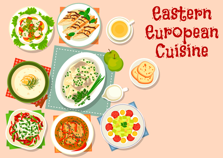 european: Eastern european cuisine dinner icon with vegetable fish salad, pepper sausage salad, zucchini salad with salami, herring in apple sauce, fish soup, beer soup with cream, pancake roll with cream Illustration