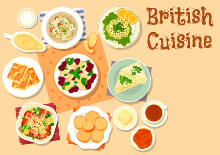British cuisine breakfast dishes icon with cheese toast, vegetable bacon salad, cucumber sandwich, chicken salad with cherry, irish fish soup, scones with apricot jam, fish pate. Food theme design