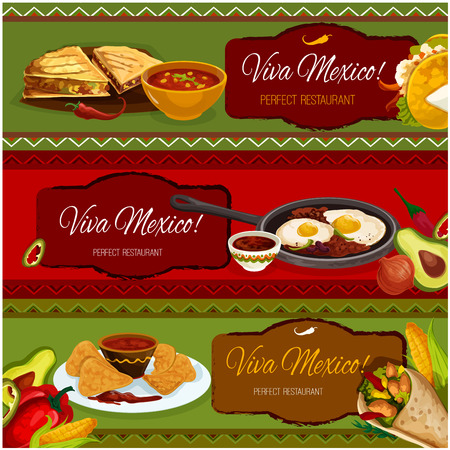 chili sauce: Mexican cuisine restaurant banner set with salad taco in corn tortilla, nachos with tomato chili sauce salsa, burrito with beef and vegetable stuffing, spicy bean stew with fried eggs