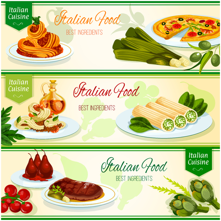 pasta sauce: Italian cuisine banner set. Italian seafood pizza and pasta, spaghetti carbonara with bacon and parmesan, florentine beef steak, stuffed cannelloni pasta with cheese, poached pear fruit in red wine Illustration