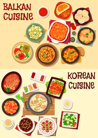 korea food: Korean and balkan cuisine icon set with kimchi vegetables, seafood soup, vegetable and bean stew,  fish, stuffed cabbage and pepper, polenta, vegetable omelette, rice dessert, almond meringue