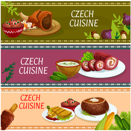 hock: Czech cuisine cartoon banner set. Traditional baked pork hock, fried cheese, pickled sausage with vegetables, beef roll, potato soup in rye bread bowl, cucumber cream soup and grilled cake trdelnik