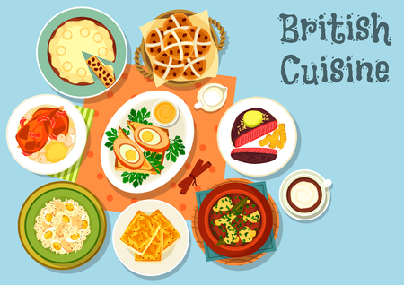 main dishes: British cuisine main dishes with snack food icon of cheese toast, beef steak, fish rice salad, irish vegetable meat stew, scotch egg wrapped in sausage meat, duck pie, fruit bread, baked rabbit