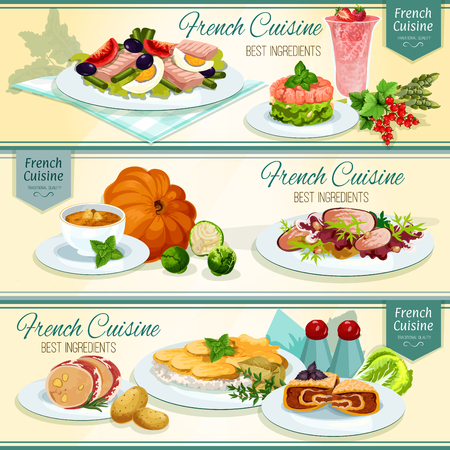 cream cheese: French cuisine popular food banner. Potato cheese casserole, fish salad with tomato and olive, salmon tartare, pumpkin cream soup, duck salad, liver in bacon, berry cream dessert, stuffed cabbage