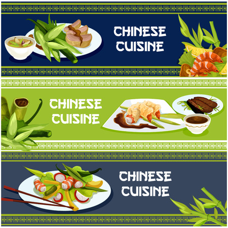 battered: Chinese cuisine popular dishes banner set. Seafood and meat menu with peking duck, spicy battered shrimp, duck salad, pork rice soup and prawn salad, served with soy sauce and chopsticks
