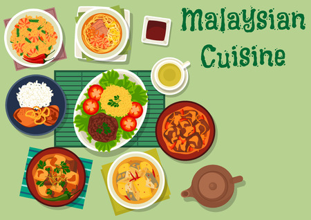 noodle soup: Malaysian cuisine icon of chicken with onion, spicy beef with rice, fish stew with pineapple, noodle soup with shrimp and pork, lamb vegetable stew, beef potato in coconut sauce, shrimp bean rice