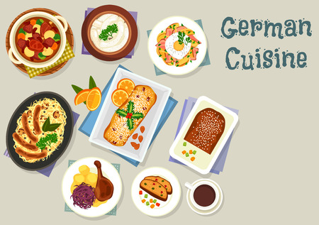 cheese cake: German cuisine Christmas dinner icon with pork sausage, cabbage mushroom stew with sausage, fried cheese potato with egg, potato bean soup with pork, goose with apple, cake stollen with fruits and nut Illustration