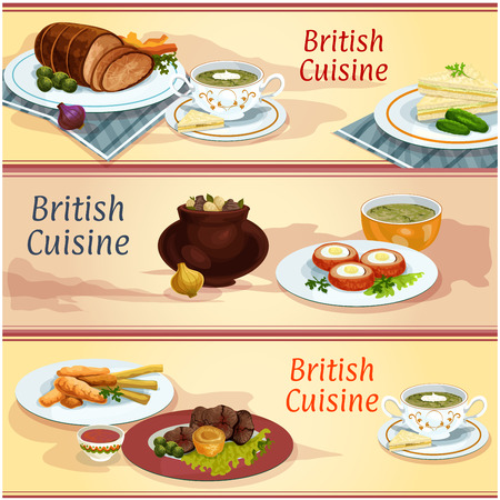 sorrel: British cuisine main and snack dishes banner. Cucumber sandwich, fish and chips, irish vegetable meat stew, scotch egg in sausage meat, roast beef with pudding, baked beef, sorrel and watercress soups Illustration