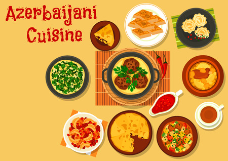 azerbaijani: Azerbaijani cuisine dinner with dessert icon of vegetable lamb stew, rice pilaf with dried fruit, fried chicken with cornel, chickpea lamb stew, meatball, fish pie, nut and honey baklava, omelette