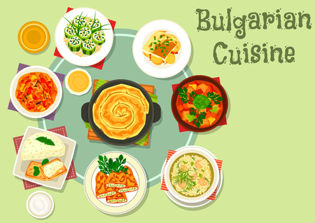 meat pie: Bulgarian cuisine dinner dishes icon with vegetable meat stew, fried stuffed pepper, stuffed cucumber with cheese, eggplant pate with toast, meatball rice soup, pumpkin pie, eggplant stew Illustration