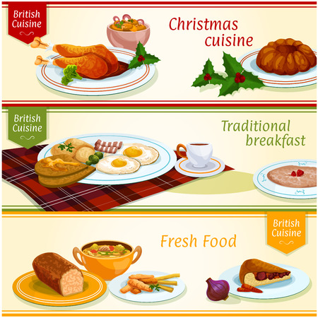 british cuisine dishes for christmas dinner breakfast and lunch banner set fried egg with - British Christmas Dinner