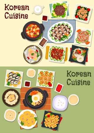 korea food: Korean cuisine icon set with sushi roll, grilled meat, fish, blood sausage, mixed vegetable rice, egg roll, chicken rice, beef stew, spinach shrimp, beef noodle, omelette, pork tofu soup, bean pancake