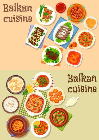 grilled vegetables: Balkan cuisine icon set of meat stews with vegetables, cheese, sausage and bean, grilled pork with veggies, baked fish, chicken and beef, liver with bacon, yogurt soup, tomato rice, fruit dessert