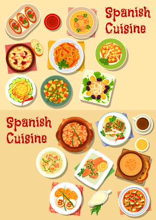 Cuisine espagnole des plats de fruits de mer icon set avec des crevettes, tomates, haricots et saucisses soupes ail, nouilles de fruits de mer, l'oignon et de poisson tapas, légumes et poissons grillés, haricots de pommes de terre et de poisson salades, ragoût de haricots