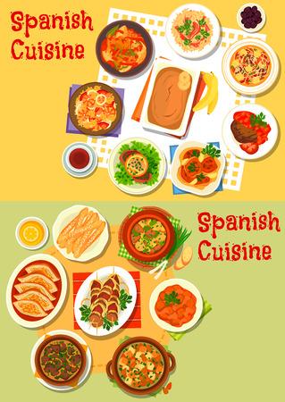 Cuisine espagnole icône de fruits de mer paella, riz jambon, viande et ragoût de poisson avec des légumes, du porc cuit, agneau du rein, du foie et de poulet, steak de boeuf, saucisses et de la soupe aux amandes, churros à biscuits, pudding à la banane
