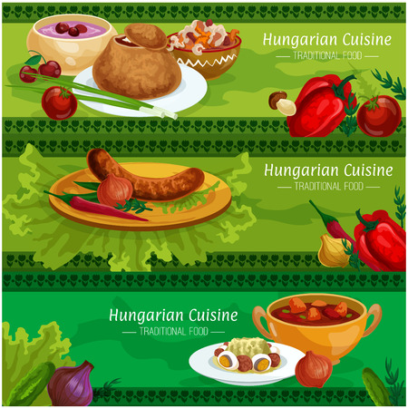 Hungarian cuisine savory dishes banner set. Grilled sausage, meat pepper stew, vegetable salad with egg and salami, onion soup in rye bread bowl, beef goulash, cherry soup with sour cream Illustration