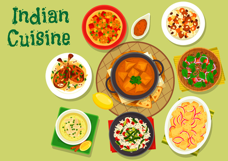 chicken rice: Indian cuisine spicy dinner icon of rice with zucchini and bacon, chicken soup, almond chicken, lamb vegetable rice, prawn masala, tomato lentil salad, fresh cheese in tomato sauce, potato stew Illustration