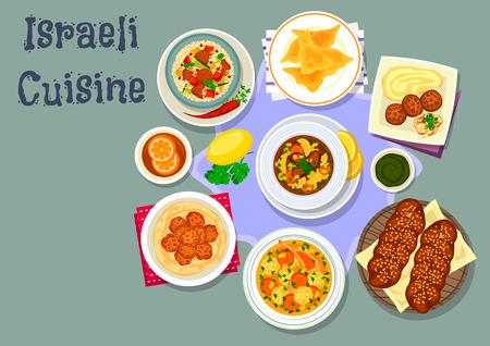 shabat: cocina icono de la cena sabrosa israelí con bola de masa de pollo, albóndigas de pollo, pan dulce judío, sopa de pollo con bola de masa, falafel de garbanzos, sopa de verduras carne de vacuno, cordero cuscús de verduras