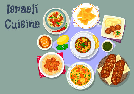 shabbat: Israeli cuisine tasty dinner icon with chicken dumpling, chicken meatball, jewish sweet bread, chicken soup with dumpling, chickpea falafel, beef vegetable soup, lamb vegetable couscous